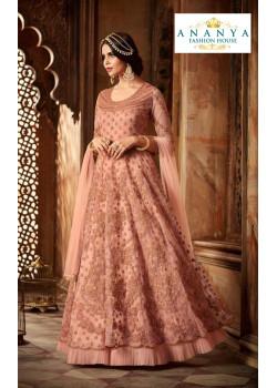 Plushy Light Pink Net- Satin Salwar kameez