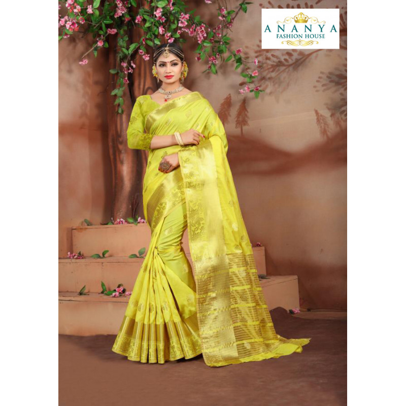 Enigmatic Lime Green Cotton Silk Saree with Lime Green Blouse