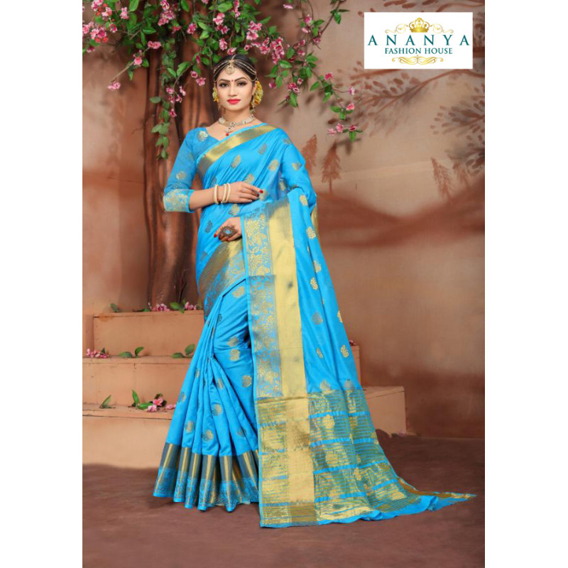 Melodic Blue Cotton Silk Saree with Blue Blouse