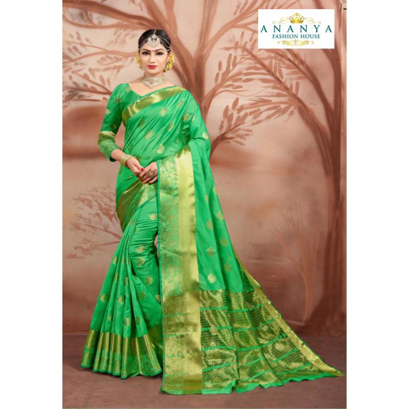 Adorable Green Cotton Silk Saree with Green Blouse