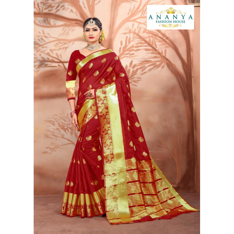 Classic Maroon Cotton Silk Saree with Maroon Blouse