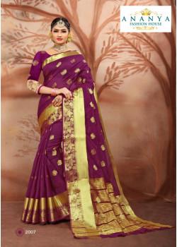 Flamboyant Purple Cotton Silk Saree with Purple Blouse