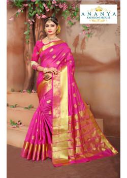 Incredible Magenta Cotton Silk Saree with Magenta Blouse