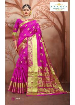 Luscious Magenta Cotton Silk Saree with Magenta Blouse