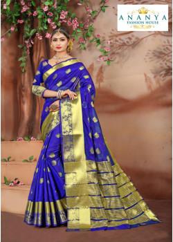 Plushy Dark Blue Cotton Silk Saree with Dark Blue Blouse