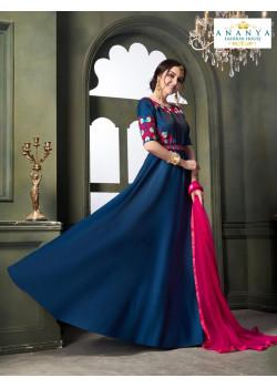 Flamboyant Blue Taffeta Satin Silk- Santoon Salwar kameez