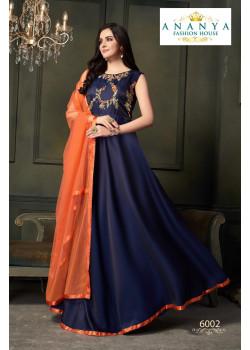 Adorable Dark Blue Taffeta Satin Silk- Santoon Salwar kameez