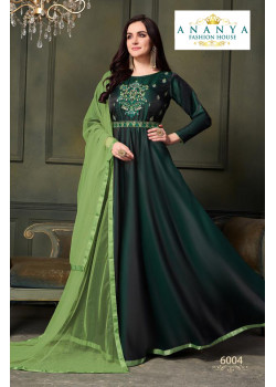 Luscious Bottle Green Taffeta Satin Silk- Santoon Salwar kameez