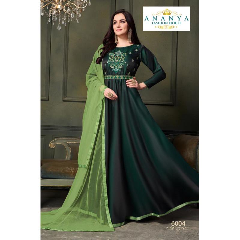 Luscious Bottle Green Taffeta Satin Silk- Santoon Salwar kameez