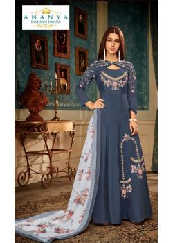 Divine Dark Blue Muslin Salwar kameez