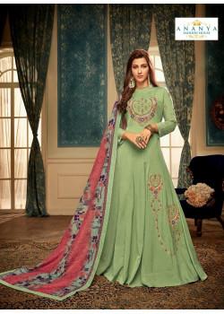 Charming Pista Green Muslin Salwar kameez