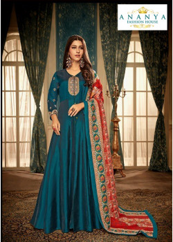 Magnificient Dark Blue Muslin Salwar kameez