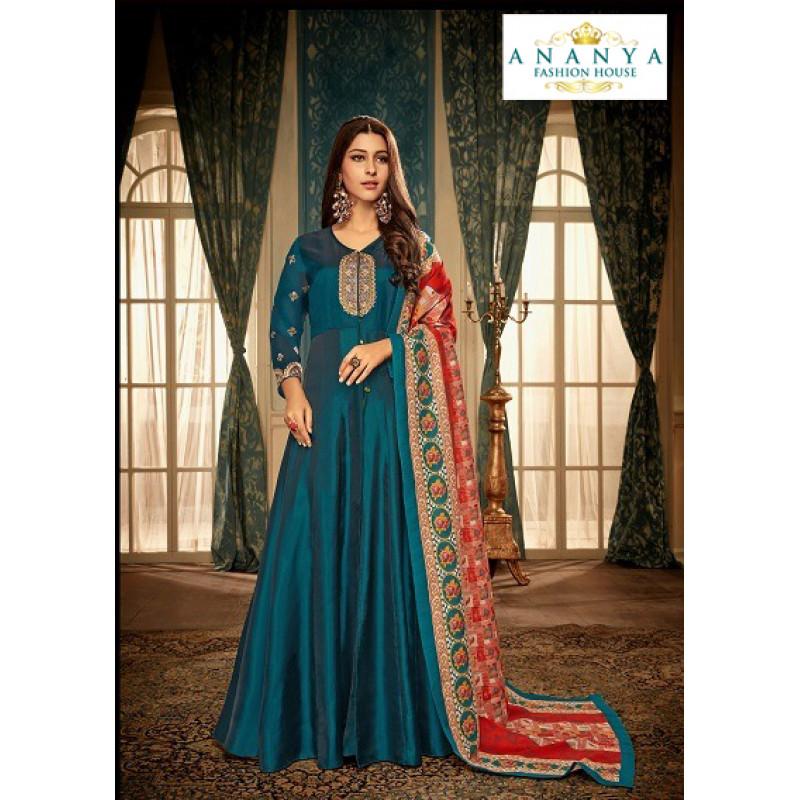 Magnificient Dark Blue Muslin Salwar kameez