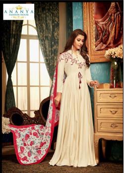 Trendy Off White Muslin Salwar kameez