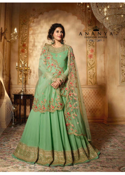 Flamboyant Green Pure Georgette- Santoon Salwar kameez
