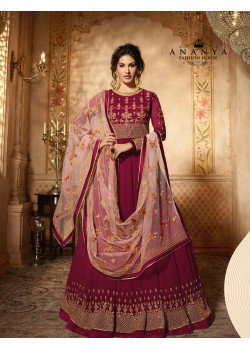 Adorable Purple Pure Georgette- Santoon Salwar kameez