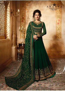 Enigmatic Bottle Green Pure Georgette- Santoon Salwar kameez