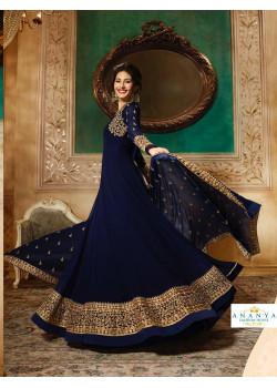 Incredible Dark Blue Pure Georgette- Santoon Salwar kameez