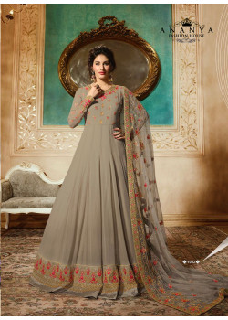 Plushy Grey Pure Georgette- Santoon Salwar kameez