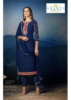 Luscious Dark Blue Georgette Salwar kameez