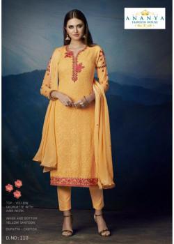 Trendy Yellow Georgette Salwar kameez