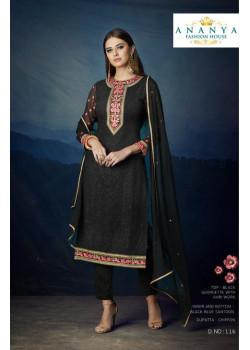 Exotic Black Georgette Salwar kameez