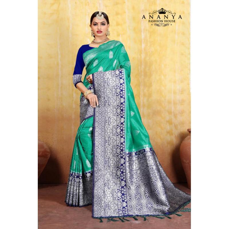 Melodic Rama Green Cotton- Jacquard Saree with Dark Blue Blouse