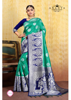 Adorable Rama Green Cotton- Jacquard Saree with Dark Blue Blouse