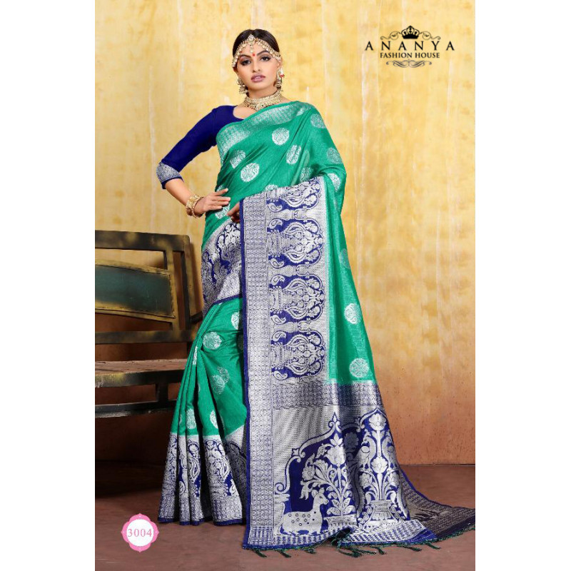 Adorable Rama Green Cotton- Jacquard Saree with Dark Blue Blouse