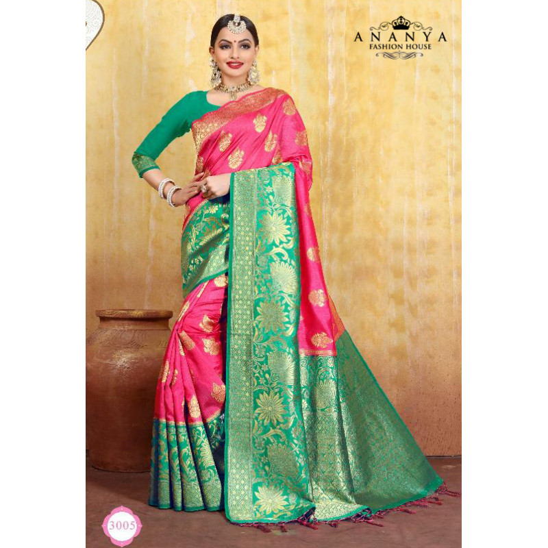 Flamboyant Magenta Cotton- Jacquard Saree with Green Blouse