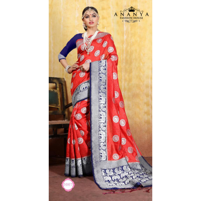 Trendy Red Cotton- Jacquard Saree with Dark Blue Blouse