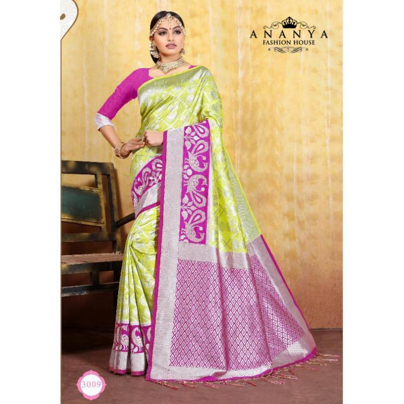 Melodic Pink Cotton- Jacquard Saree with Rama Green Blouse