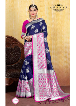 Classic Blue Cotton- Jacquard Saree with Magenta Blouse