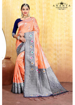 Dazzling Peach Cotton- Jacquard Saree with Dark Blue Blouse