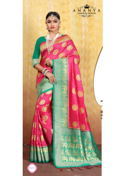 Divine Pink Cotton- Jacquard Saree with Rama Green Blouse