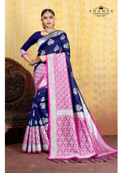 Exotic Blue Cotton- Jacquard Saree with Dark Blue Blouse