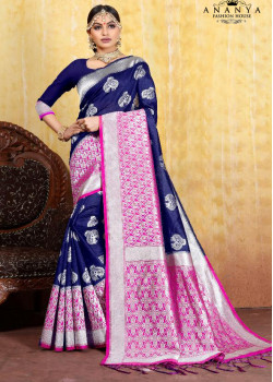 Exotic Blue Cotton- Jacquard Saree with Dark Blue Blouse