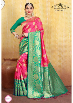Flamboyant Magenta Cotton- Jacquard Saree with Green Blouse