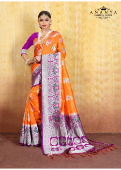 Gorgeous Mustard Cotton- Jacquard Saree with Purple Blouse