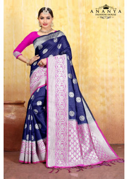 Luscious Blue Cotton- Jacquard Saree with Magenta Blouse