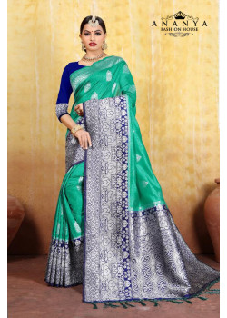 Melodic Rama Green Cotton- Jacquard Saree with Dark Blue Blouse
