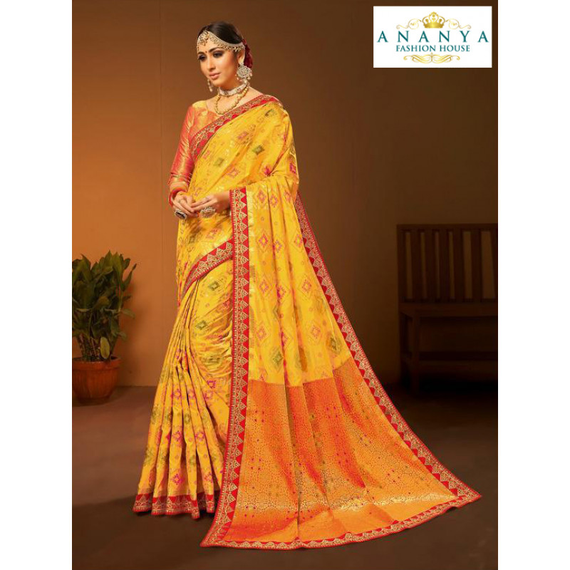 Plushy Yellow- orange Silk Saree with Red Blouse