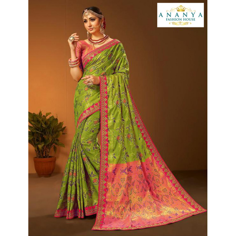 Enigmatic Green- Pink Silk Saree with Pink Blouse