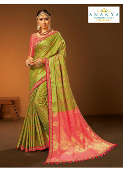 Adorable Light Green- Pink Silk Saree with Pink Blouse