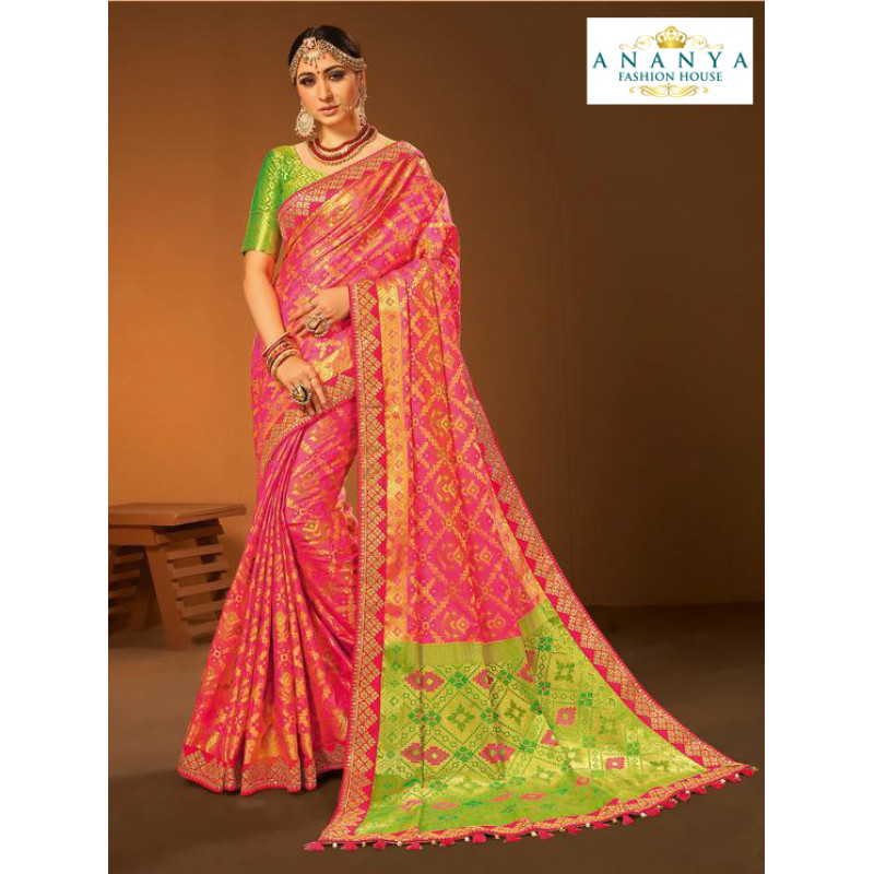 Magnificient Pink- Light Green Silk Saree with Pink Blouse