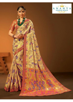 Melodic Multicolor Silk Saree with Red Blouse