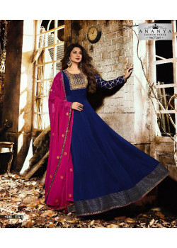 Plushy Dark Blue Silk Georgette- Santoon Salwar kameez