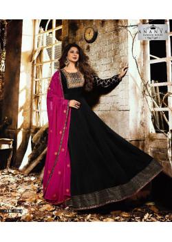 Incredible Black Silk Georgette- Santoon Salwar kameez