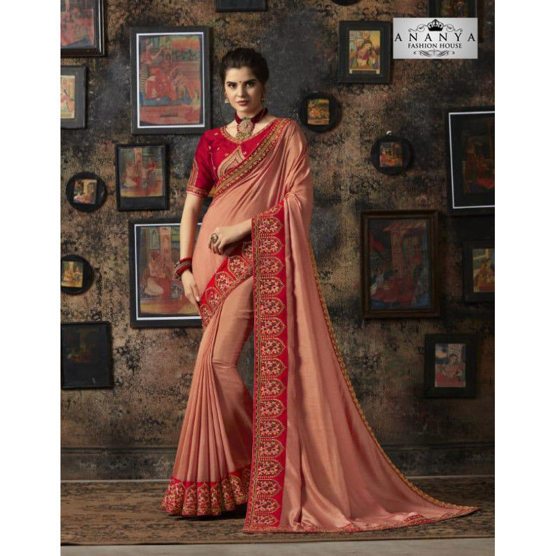 Luscious Light Peach Silk Saree with Red Blouse