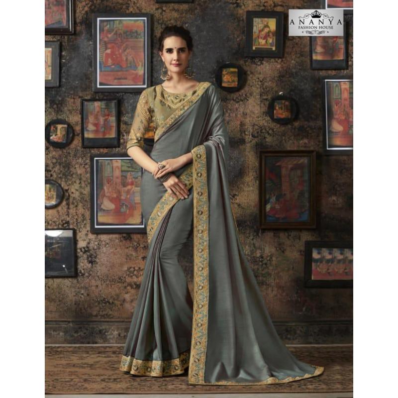 Trendy Grey Silk Saree with Beige Blouse